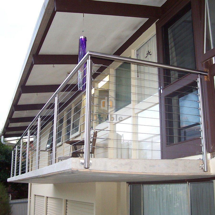Modern metal fence stainless rails balcony railing