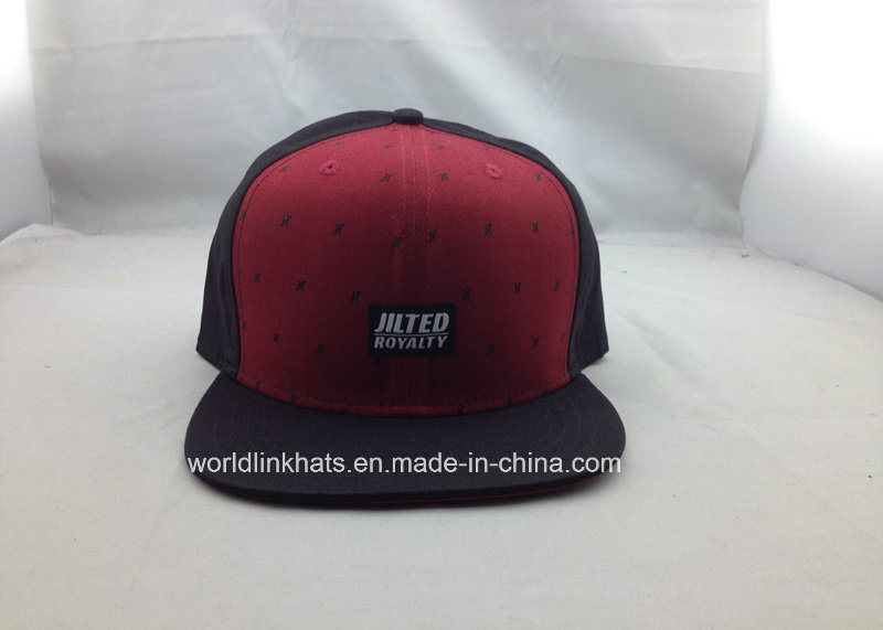 39bfdfcdf [Hot Item] Custom Printed Snapback Cap 6 Panel Snapback Hat with Woven Patch