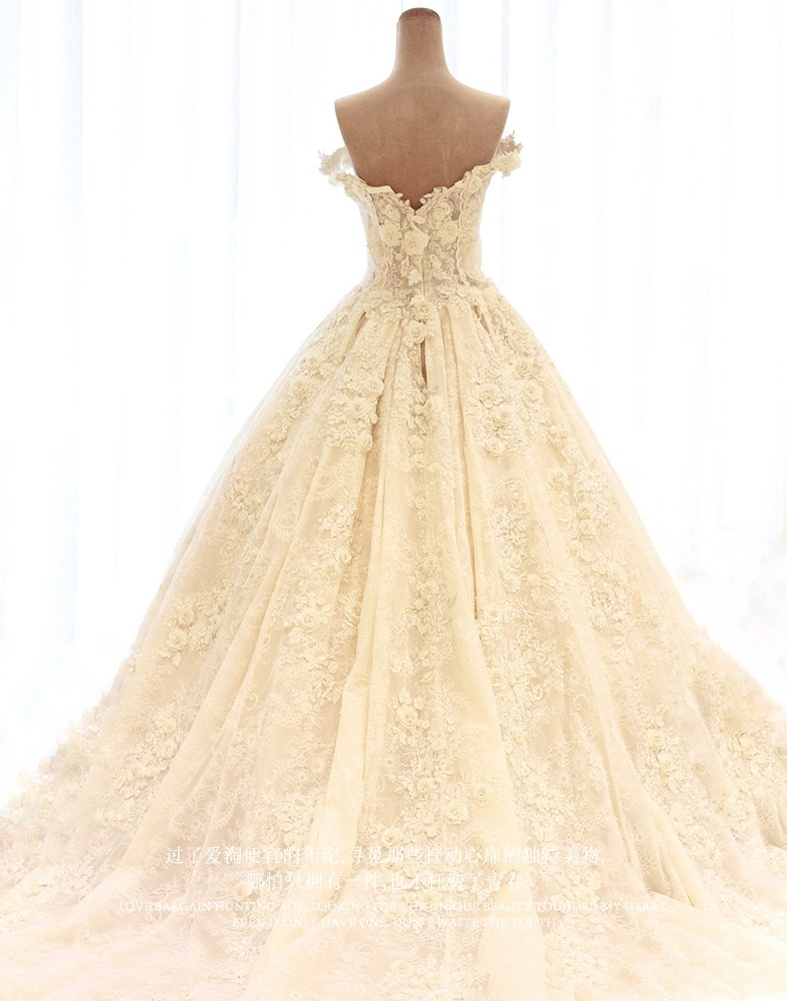 Cap Sleeves Bridal Gowns Ruffles Lace 3D Flowers Wedding Dress 2018 W17811