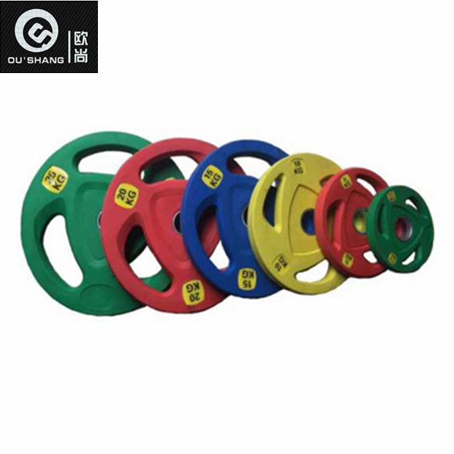 [Hot Item] Gym Equipment Colored 3 Hole Frosting Rubber Plate Osf017 Free  Weight