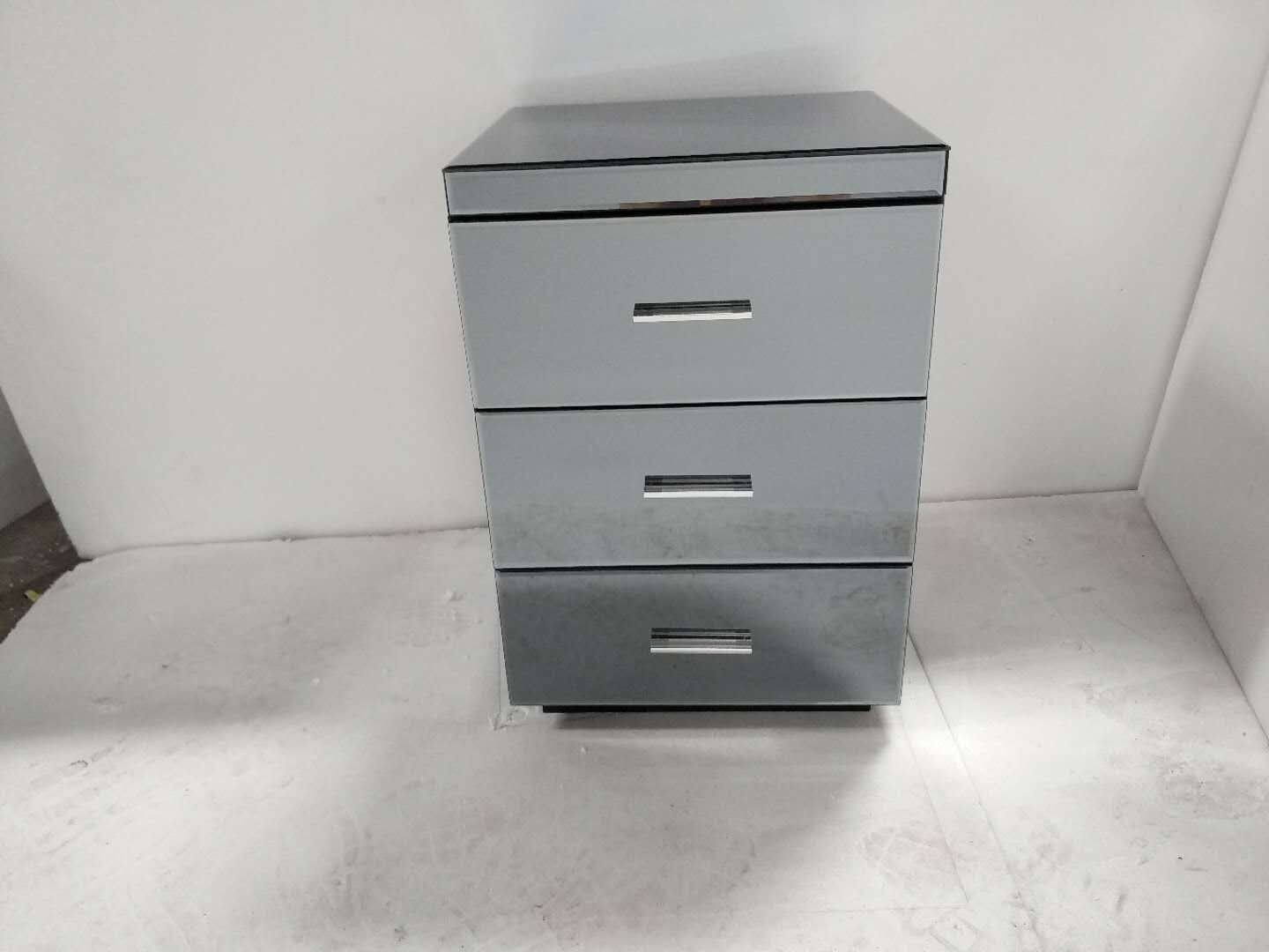 Hot Item Mirrored Bedside Chest Cabinet 3 Drawers Glass Bedroom Table Venetian Nightstand