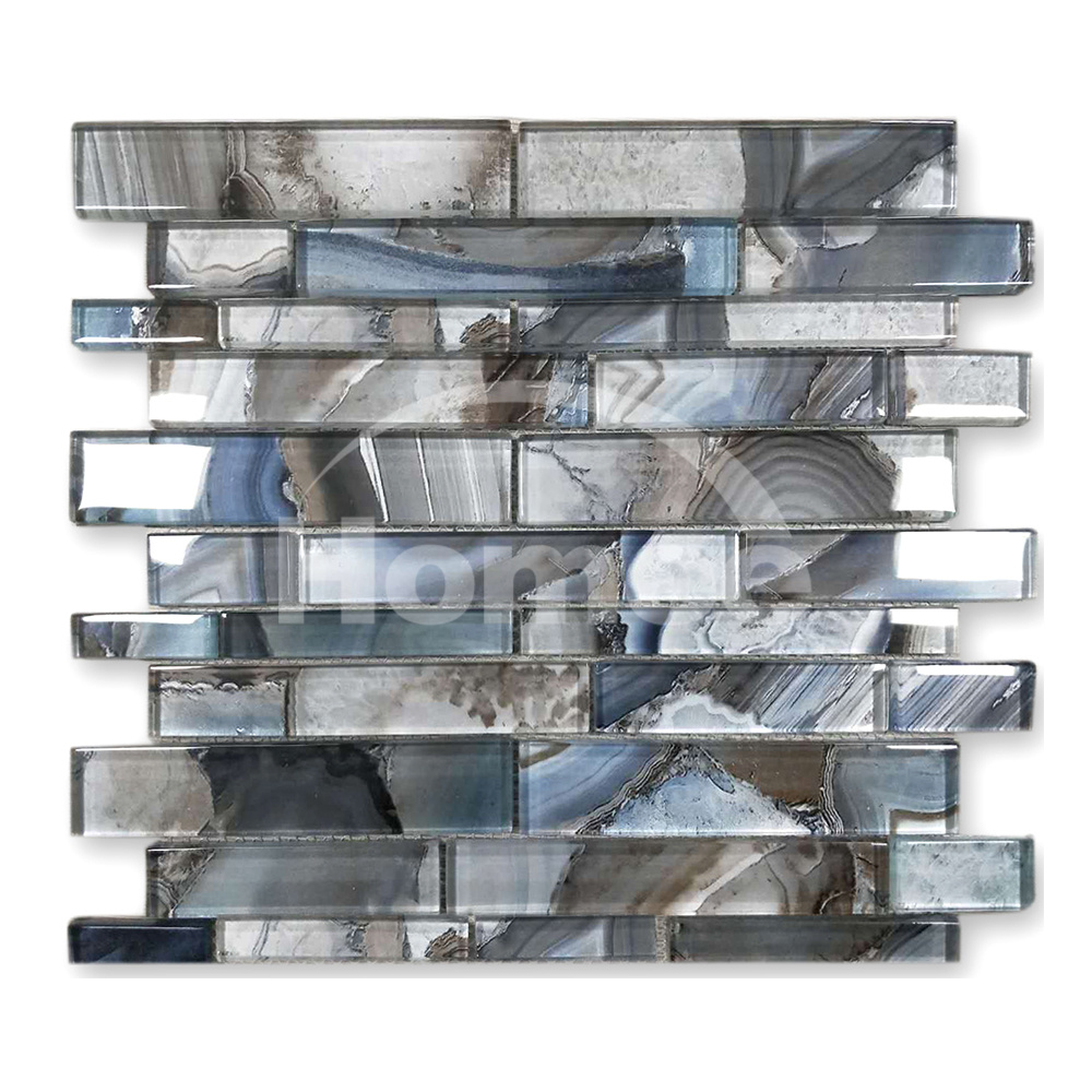 - China Harbour Blue Unique Linear Texture Tile Backsplash Glass Mosaic -  China Building Material, Wall Tile