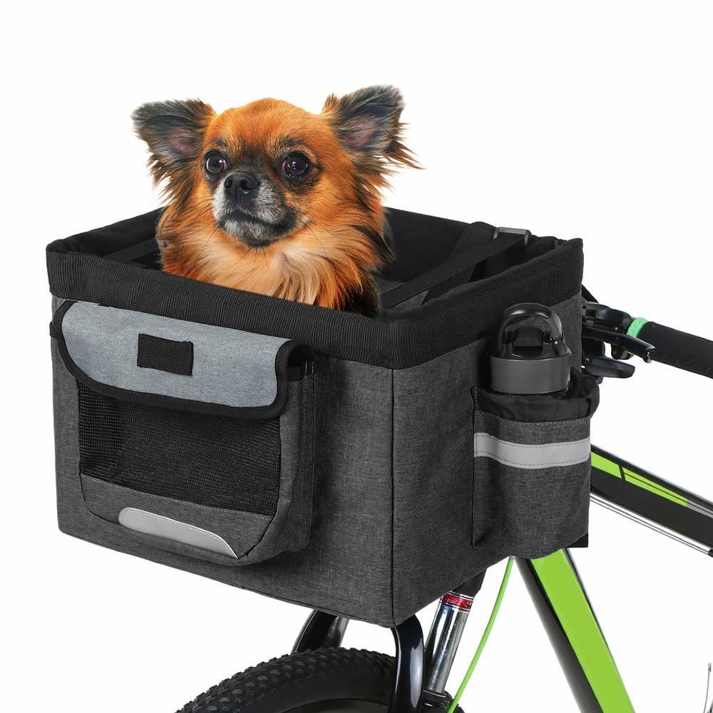Bike Basket Pet Carrier Pouch Safety Belt Dog Cat Bicycle Front Handlebar Basket