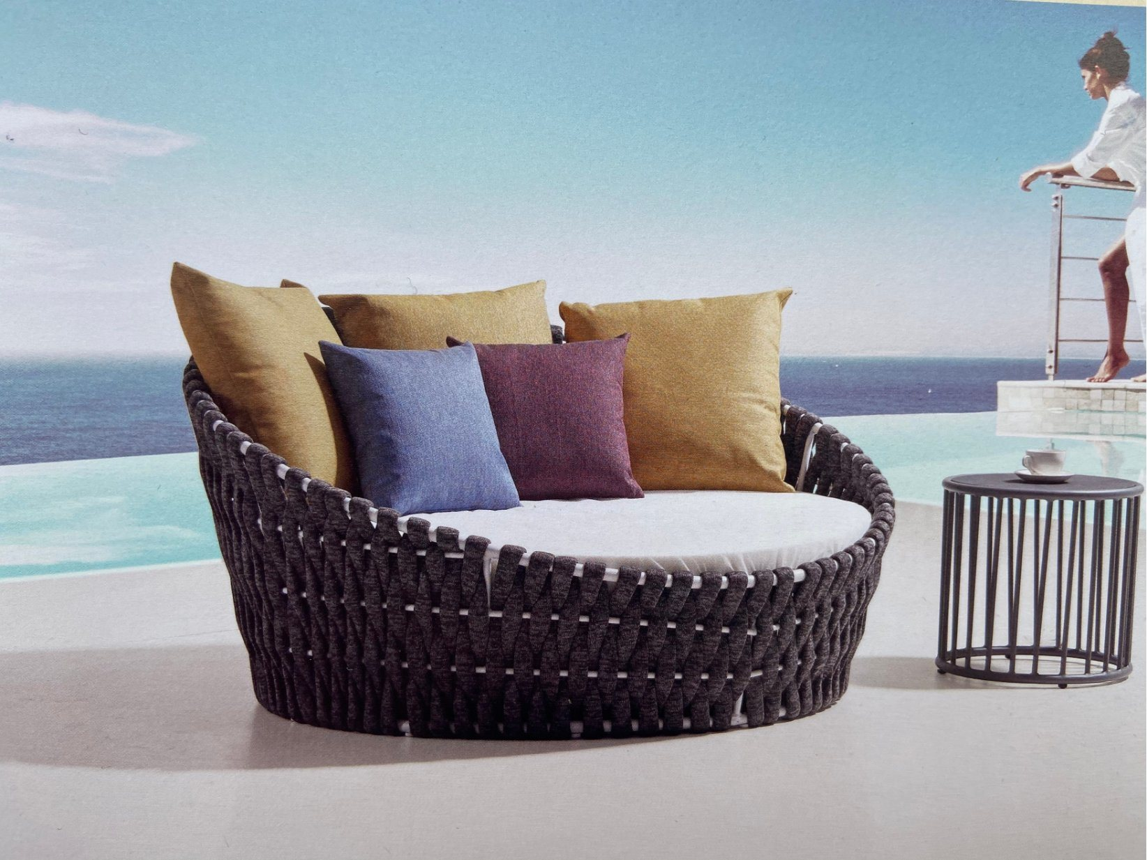 China 2020 Hot Sale Modern Rope Rattan Round Daybed Set For Outdoor Furniture Photos Pictures Made In China Com