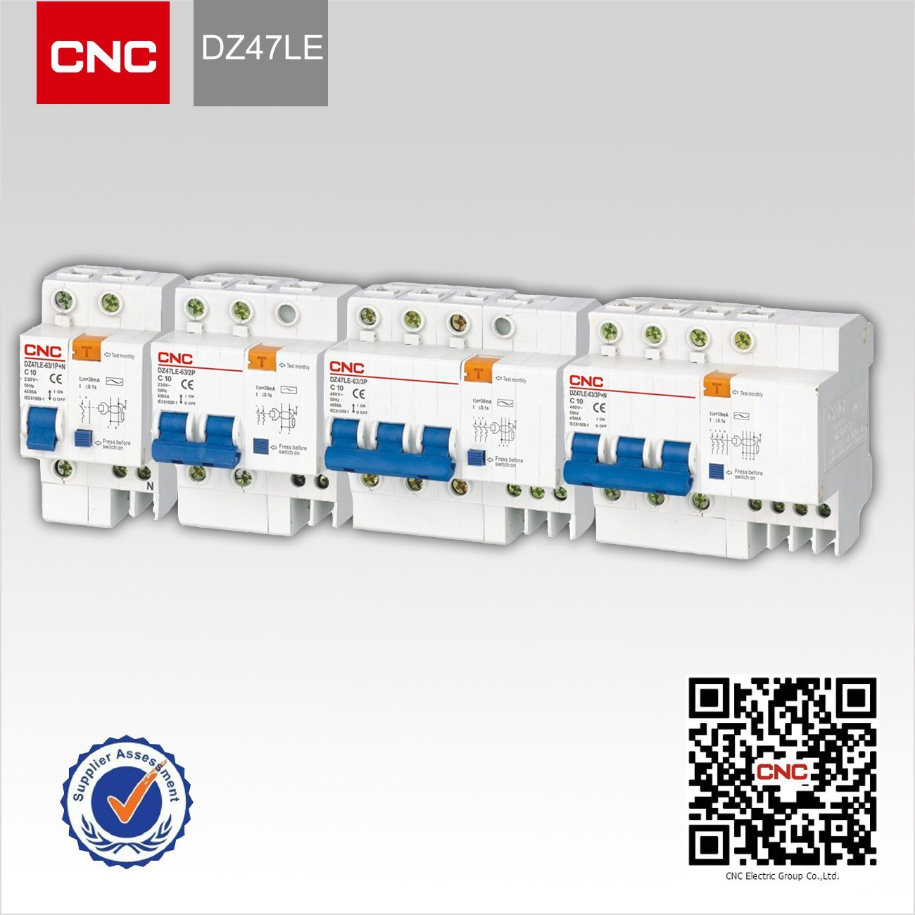4P 63A DZ47LE63A 400V~ C type Residual current Circuit breaker