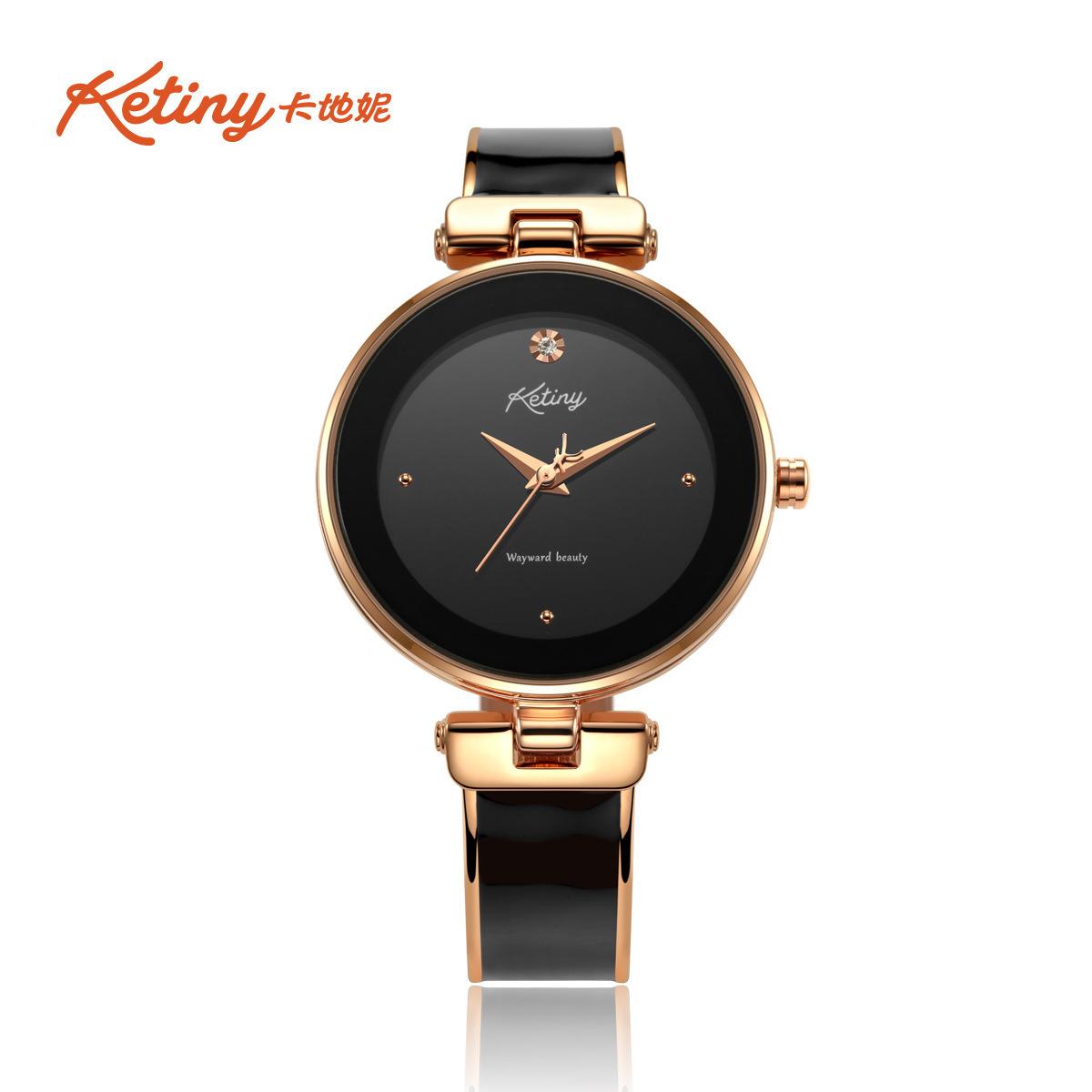 Hot Item Ketiny Elegant Three Hand Black Stainless Steel Quartz Lady Wrist Watch
