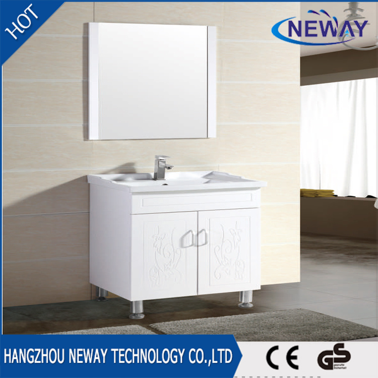 China Bath Waterproof Stand Mirror Unit Bathroom Cabinet PVC - China ...