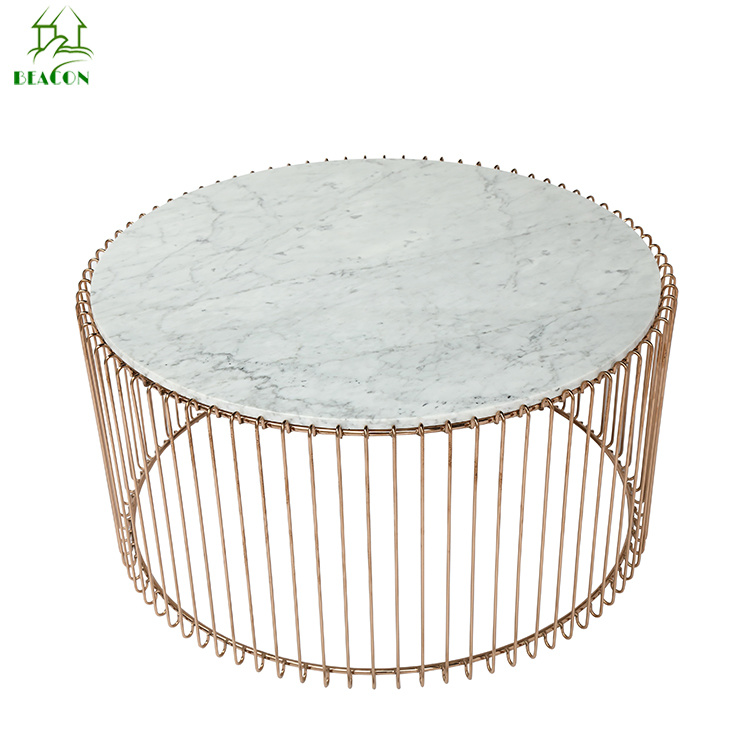 China Living Room Furniture Round Bronze Wire Coffee Table With Marble Top    China Marble Coffee Table, Modern Coffee Side Table