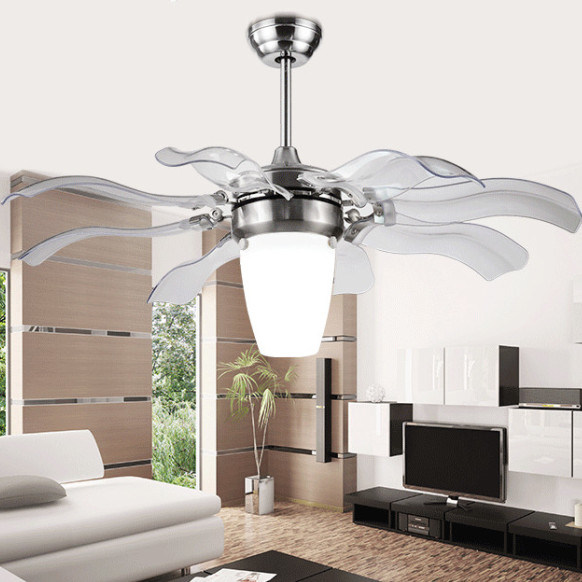 China 42inch Hidden Transparent Blades Led Ceiling Fan Lights Retractable Blade Ceiling Fan Invisible Ceiling Fan Light China Invisible Ceiling Fan Light And Retractable Blade Ceiling Fan Price
