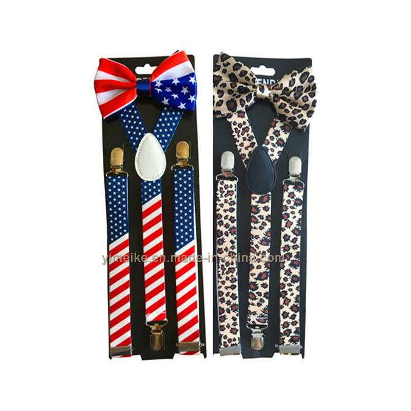 Fashionable Mens Lady America Flag Printed Suspender with Bow Tie