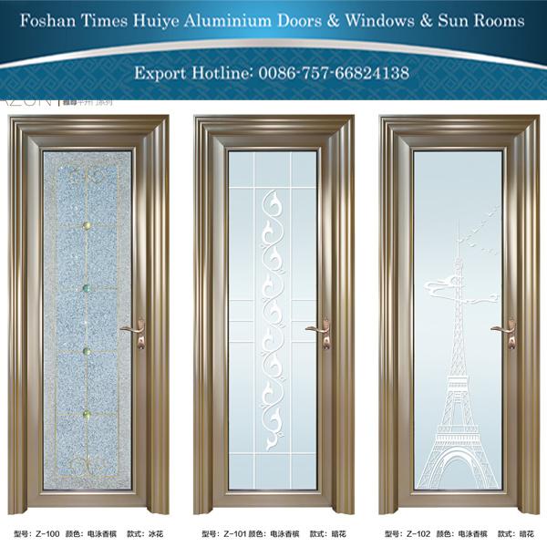 . Hot Item  Aluminum Casement Door Bathroom Door with Ice Flower Design