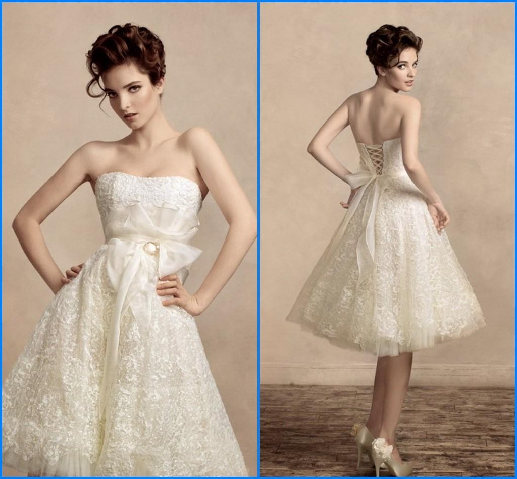 China 2014 Summer Vintage Elegant Lace Short Wedding