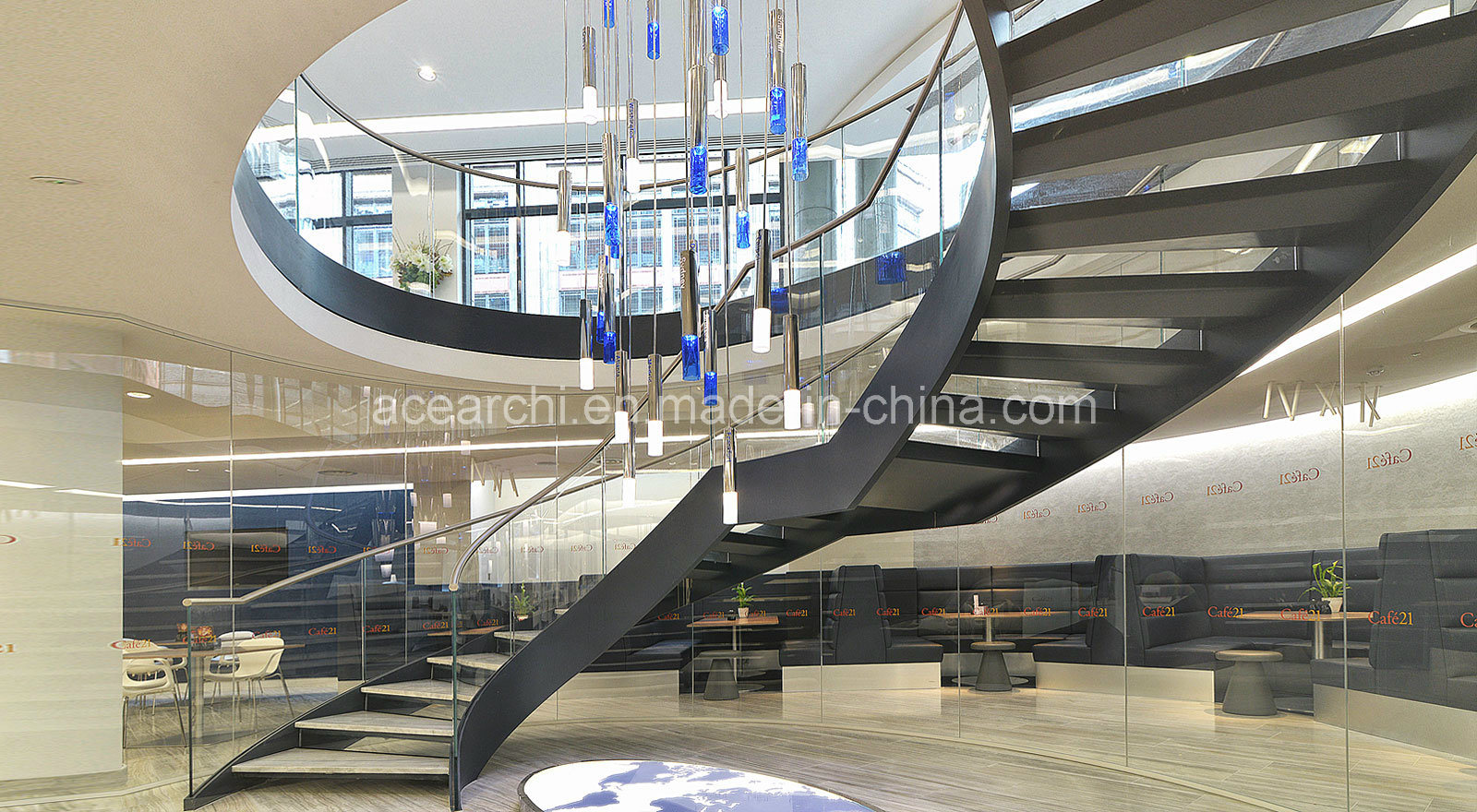 China Big Curved Glass Staircase With Marble Stone Tread And Tempered Glass  Railing   China Curved Glass Staircase, Spiral Staircase For Sale