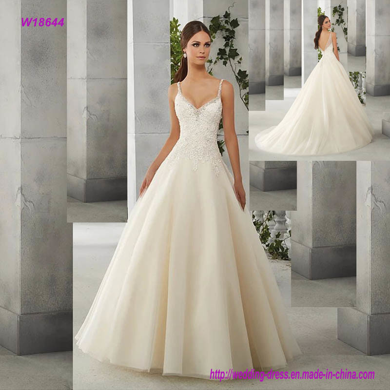 Wedding Ball Gowns With Straps: China Charming Spaghetti Strap Lace Appliques Bodice Ball