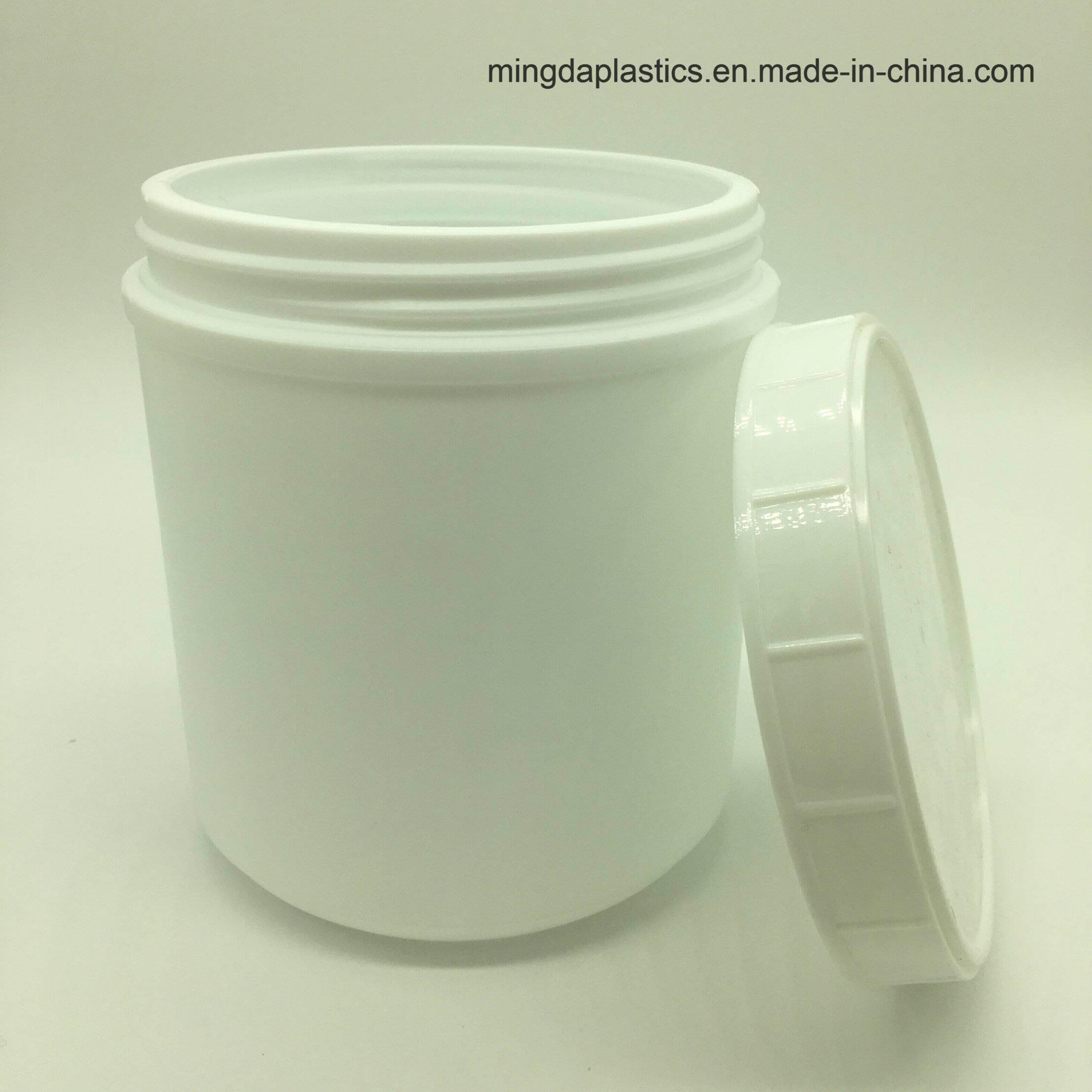 China Plastic White Protein Powder Bottles Pharmaceutical Round HDPE
