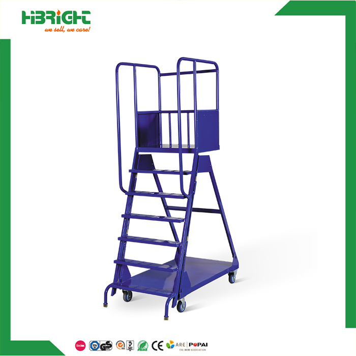 Good Warehouse Supermarket Truck Moveable Stairs Steel Safety Rolling Mobile  Platform Ladder Cart
