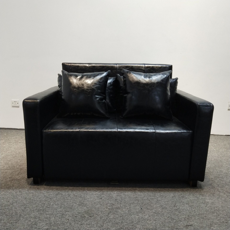 China Two Seat Leather Storage Sofa Bed, Black Leather Sofa Bed With Storage