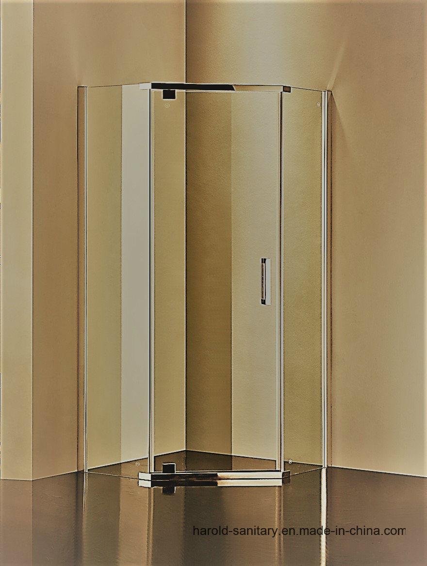 China Hr P050 Diamond Shape Pivot Hinge Shower Door China Shower Enclosure Tempered Shower Glass