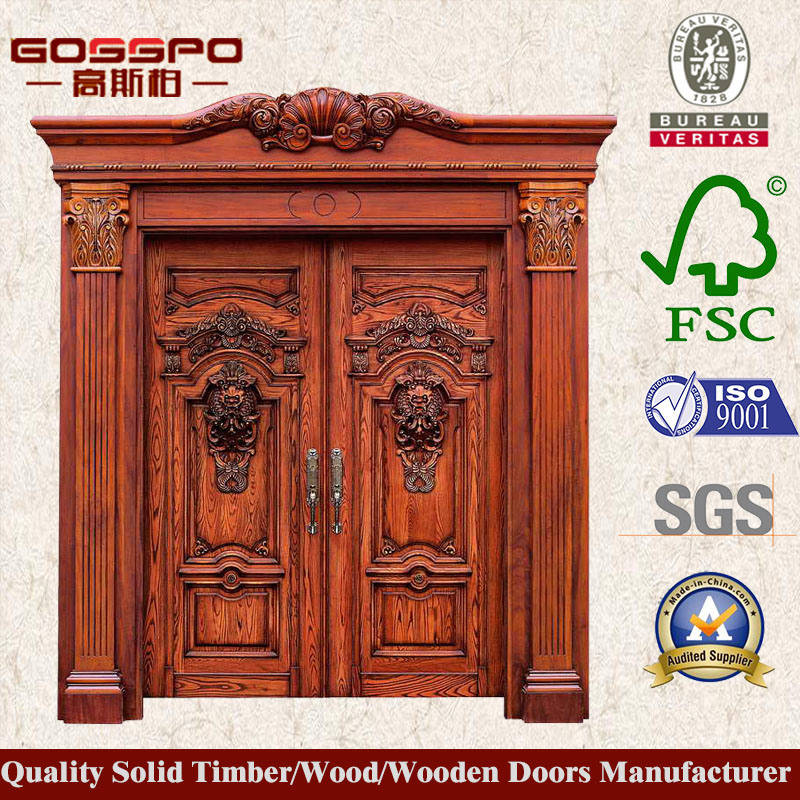 China Decorative Carving Double Wooden Main Door Design Gsp1 025