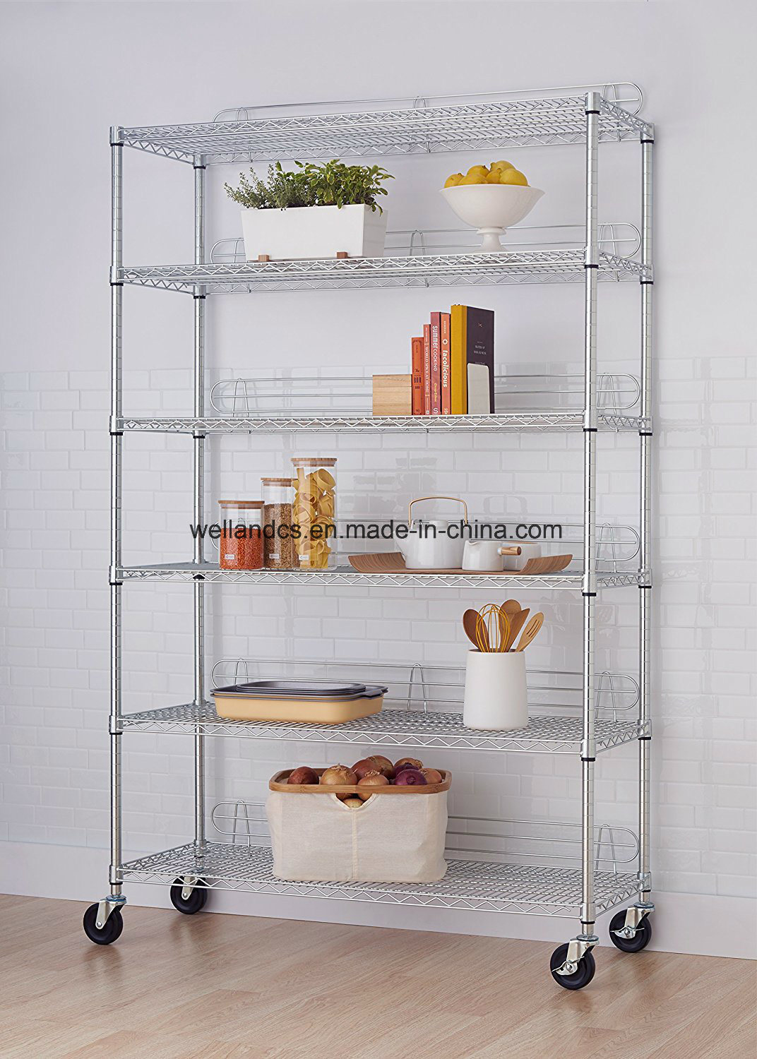 China 800lbs Commercial Kitchen Storage Shelf Chrome Metal Wire ...