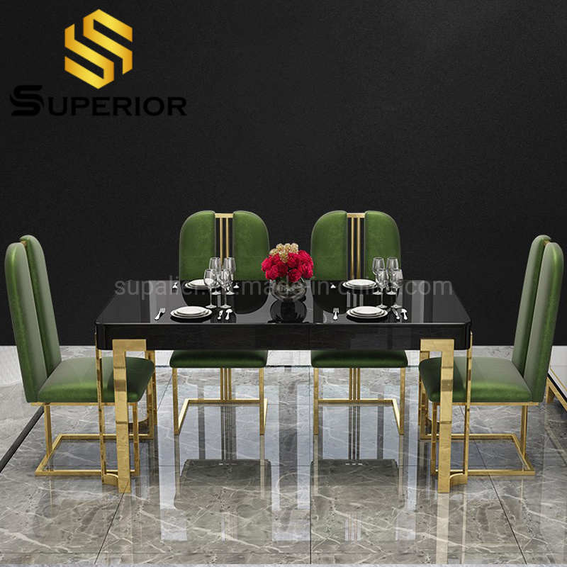 China 2020 New Idea Gold Glam Dinner Table With 6 Chairs China Modern Table Dining Table