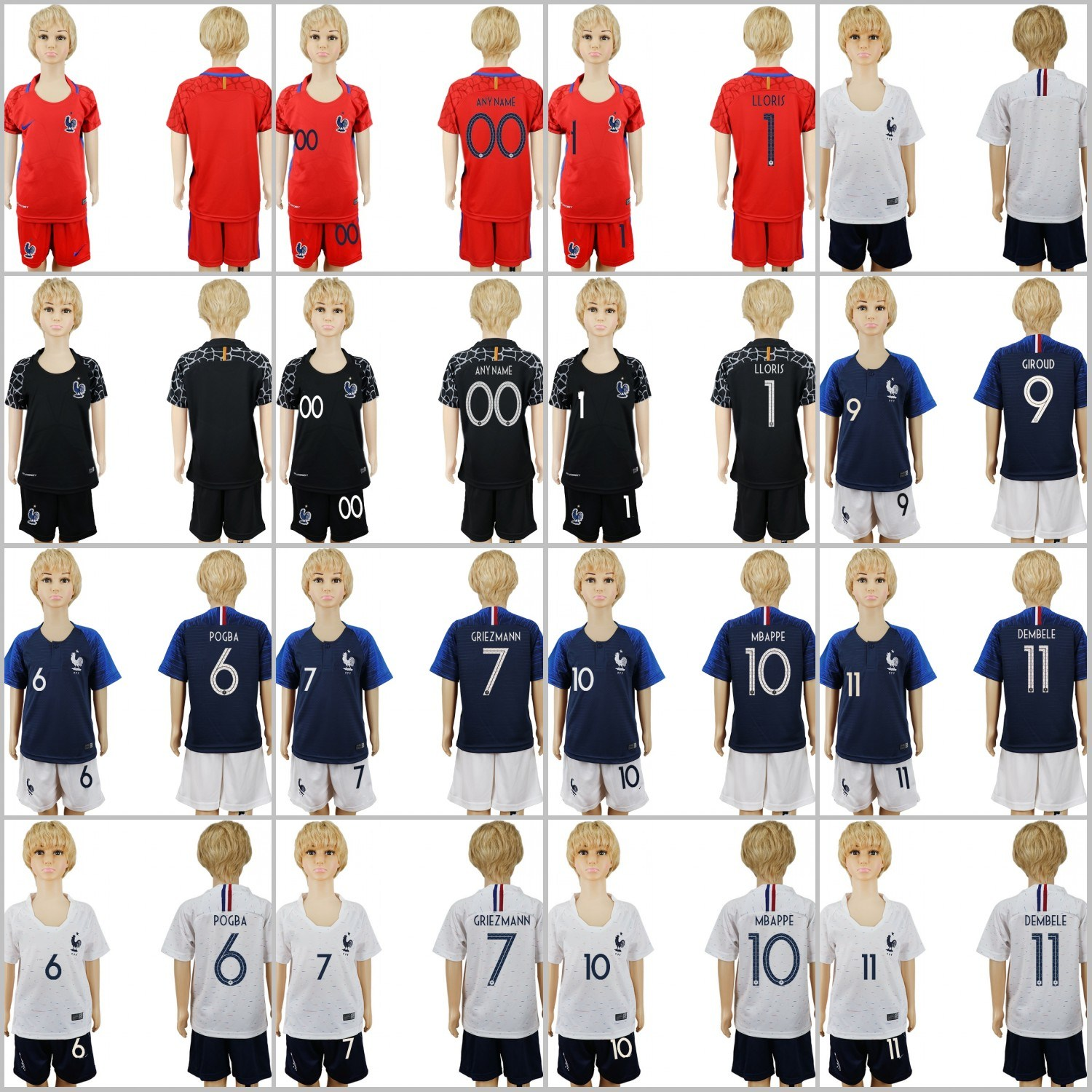 free shipping 97f3d c65ca [Hot Item] 2018 World Cup Football Griezmann Mbappe Giroud Kids Soccer  Jersey