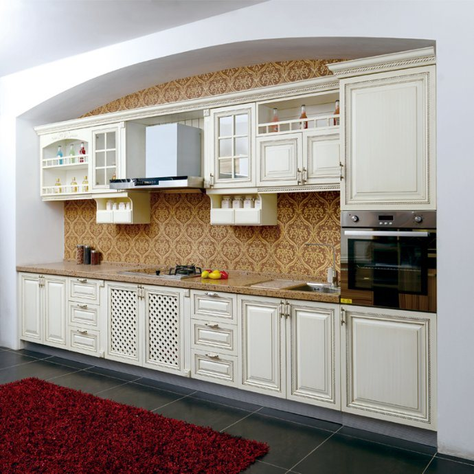 China American Type White Oak Solid Wood Kitchen with High ...