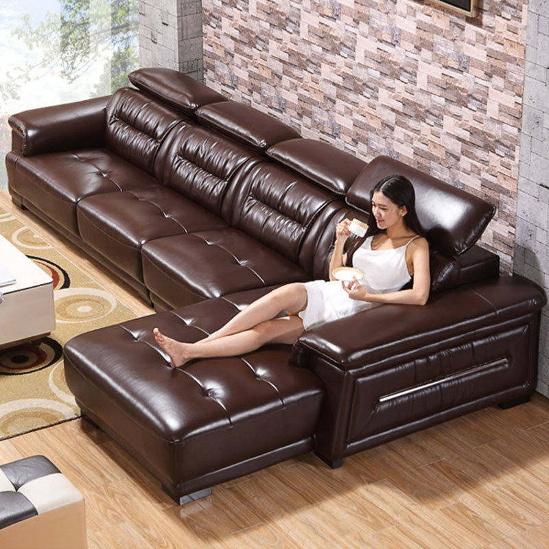Hot Item New Arrival L Shape Living Room Furniture Sets Leather Sofa 8019