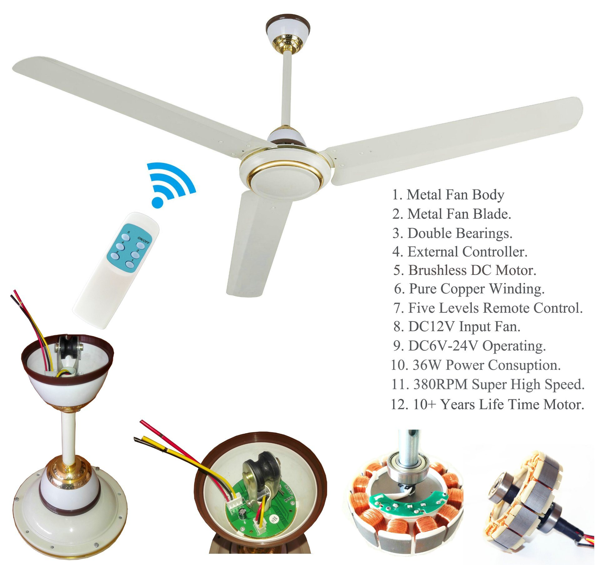 China Dc Ceiling Fan Five Levels Remote Control With