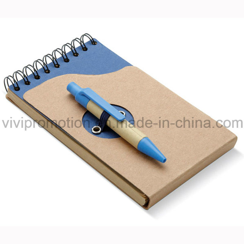Popular Mini Pocket Spiral Notebook with Recycled Paper Pen (PNB082A)