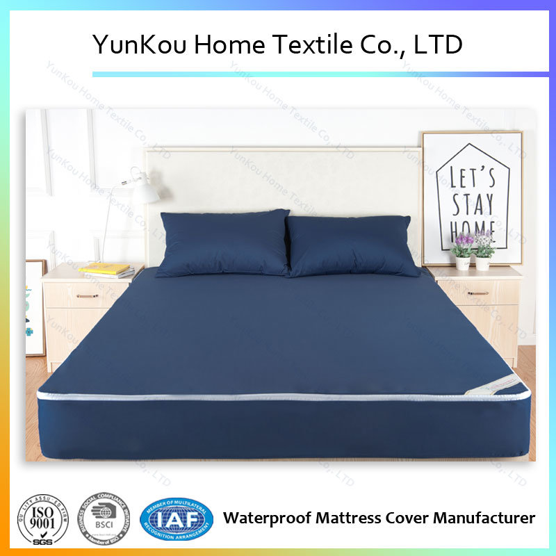 Navy Blue Premium Hypoallergenic Waterproof Mattress Encasement for Sale