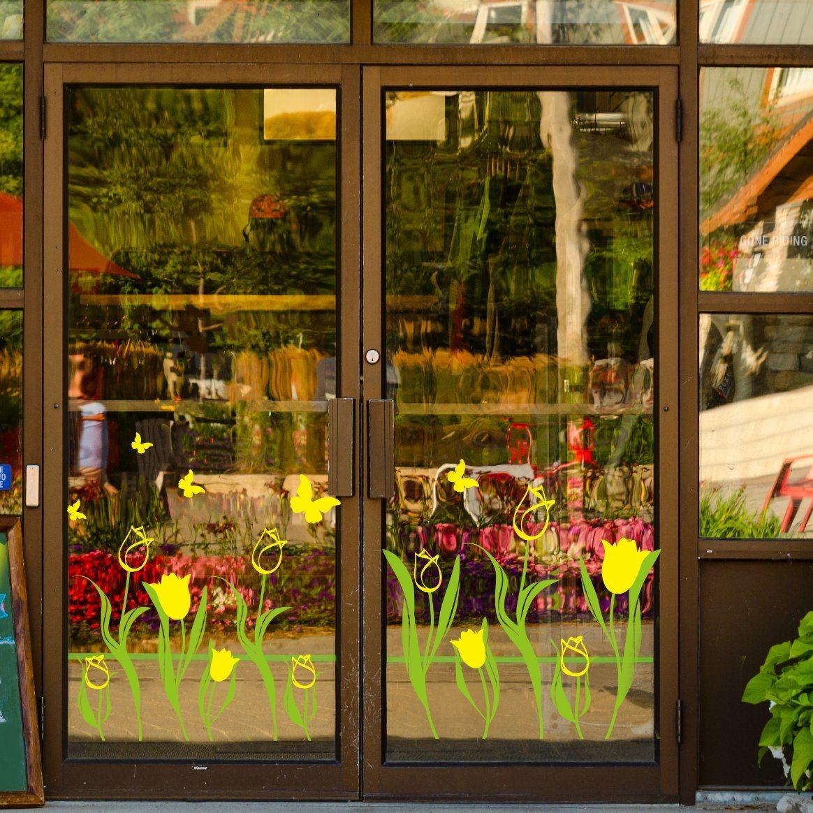 China custom yellow tulip window sticker store home decoration china wall paper home decoration