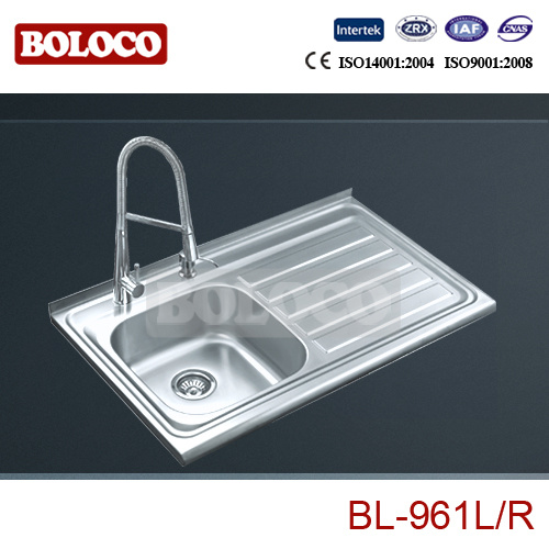 China Stainless Steel Kitchen Sink Basin Single Bowl With