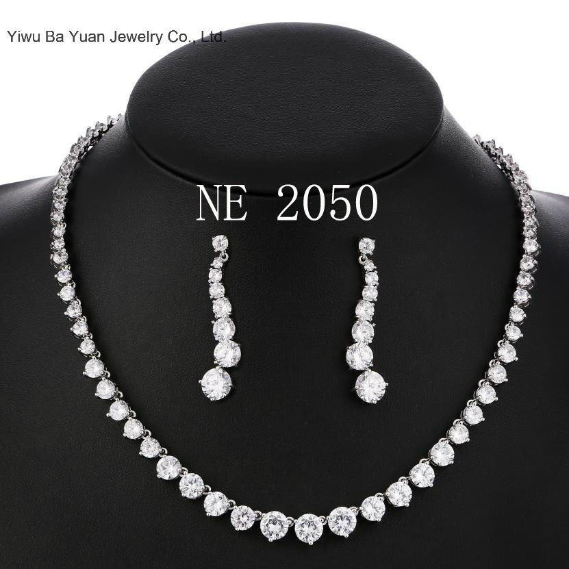 Silver-Tone Round Cut Cubic Zirconia Tennis Necklace Earrings Set pictures & photos