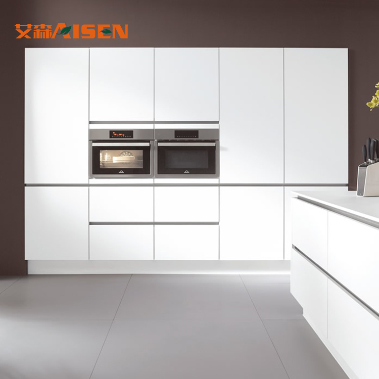 China Pure White Smooth Finishing Modern Kitchen Cabinet Without