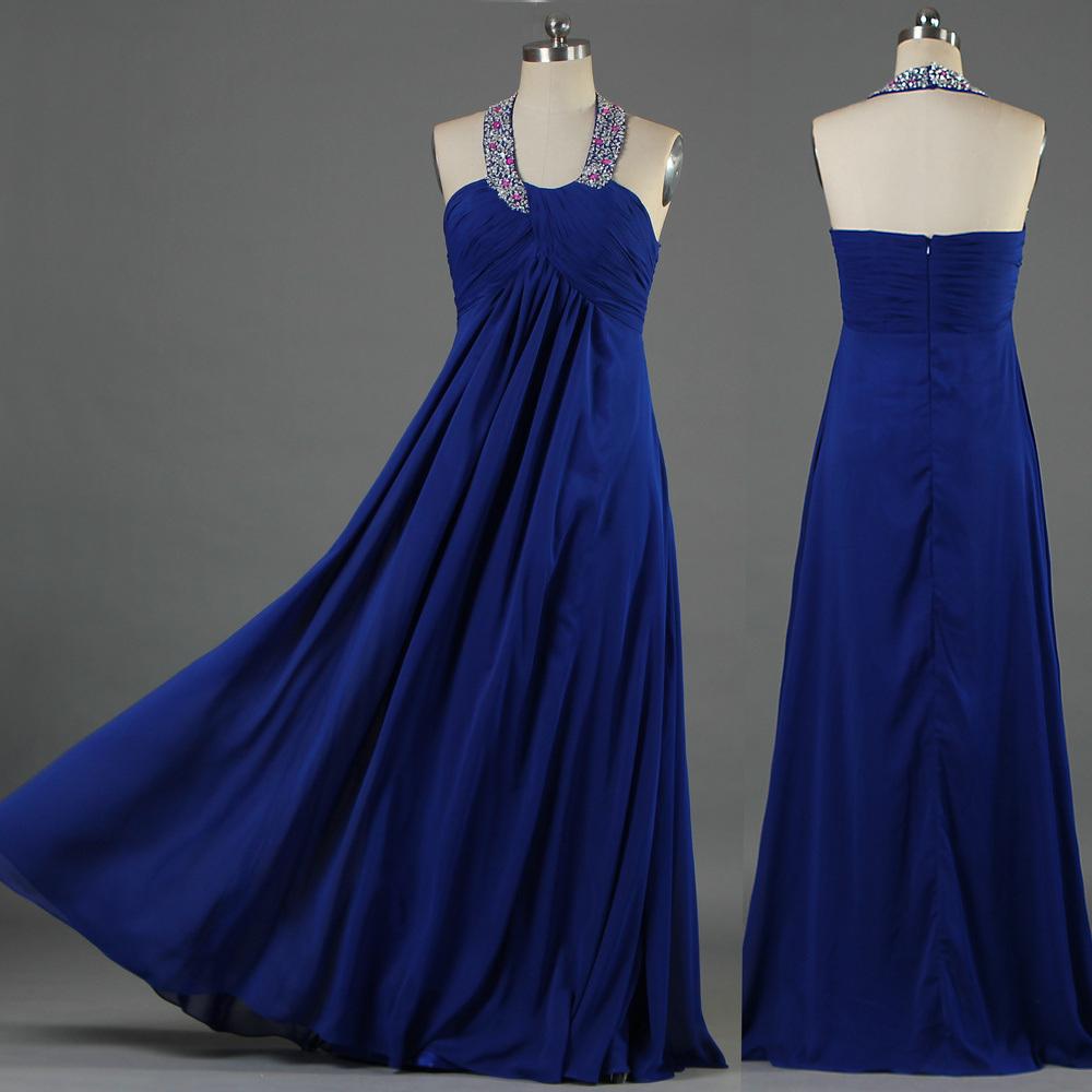 [Hot Item] Wholesale Long Royal Blue Bead Halter Plus Size Evening Prom  Dresses for Women E105