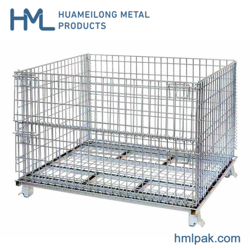China Bulk Galvanized Warehouse Collapsible Wire Mesh Gitterbox Container With Wheels Photos Pictures Made In China Com