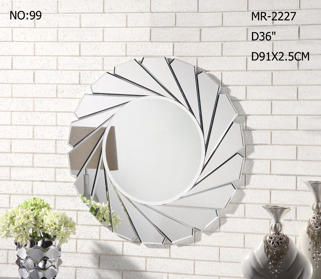 Splish Living Room Round Wall Mirror for Home Decor