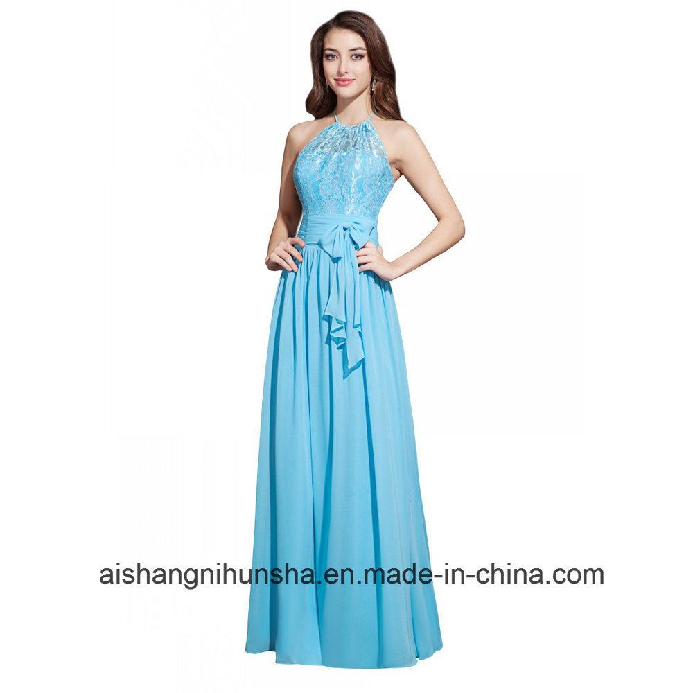 China Halter Neck Lace Top Sleeveless Long Chiffon Bridesmaid ...