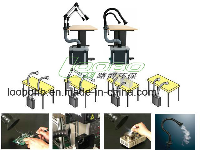 High Quality Small Soldering Fume Extractor / Smoke Absorber with Fume Extraction Arm Hood for Laser Cutting Machine pictures & photos