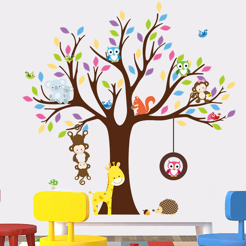 china cartoon forest animal wall stickers, wall murals diy posters