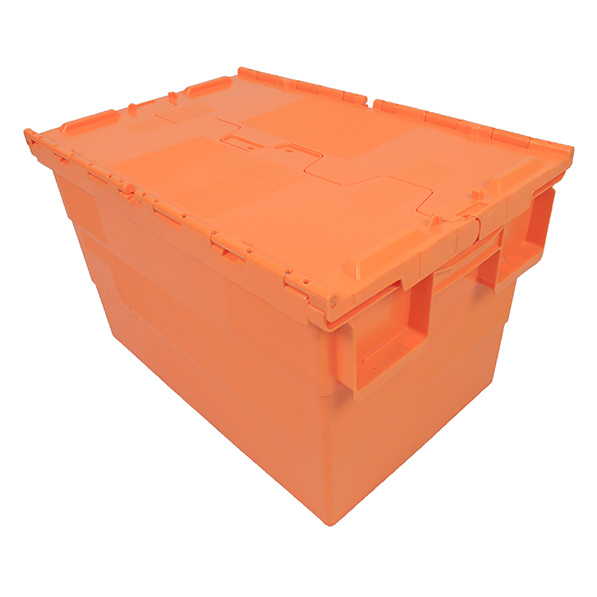 China Whole Nestable Rackable, Orange Storage Totes With Lids