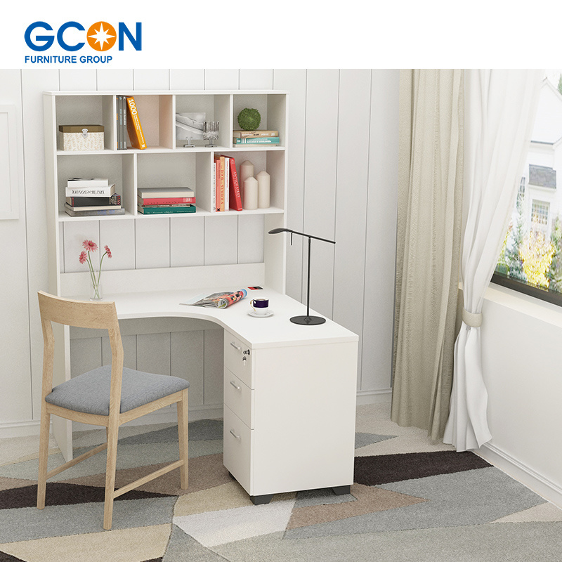 China White High Gloss L Shape Computer Desk For Home Office Writing