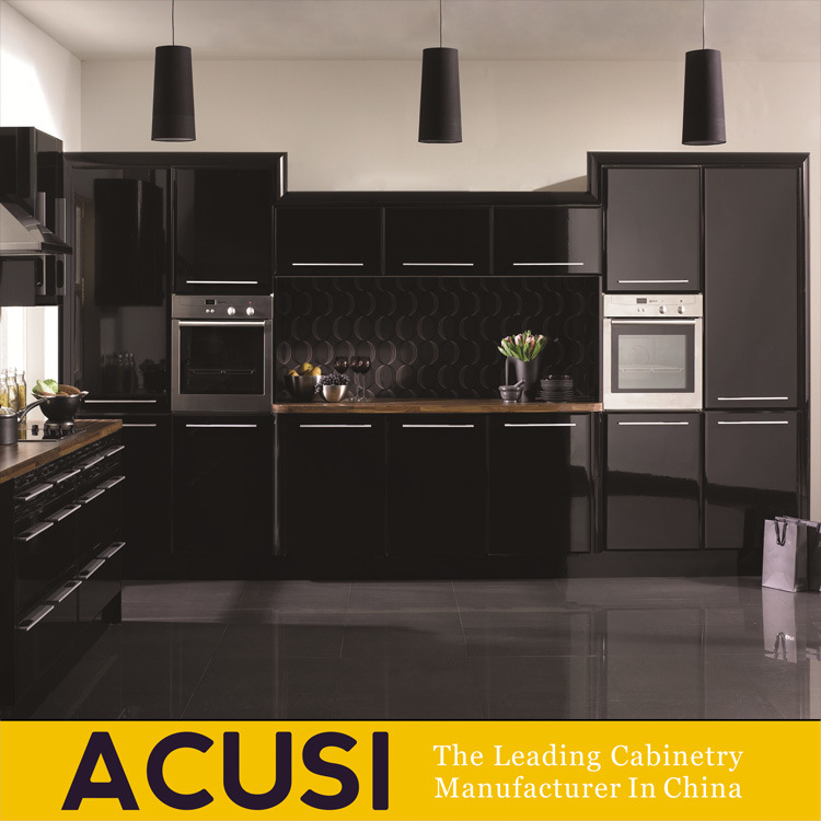 Charmant Hot Selling High Gloss Black Lacquer MDF Kitchen Cabinets (ACS2 L130)