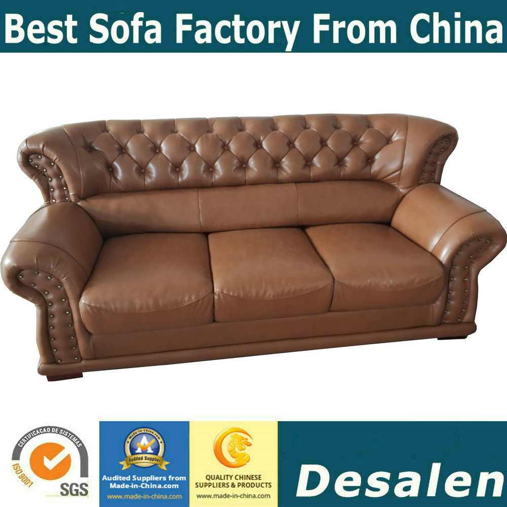[Hot Item] Brown Color Home Furniture Genuine Leather Sofa with Button  Design (619)
