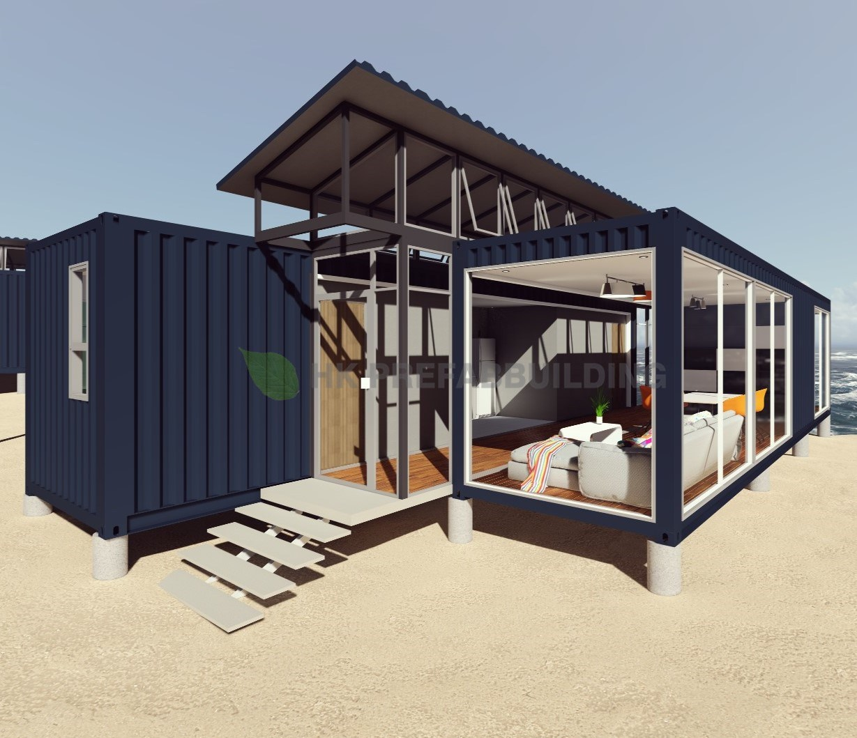 China Deluxe Ocean View Modular Prefabricated 40feet Shipping ... on us steel homes, us tank homes, us box homes,