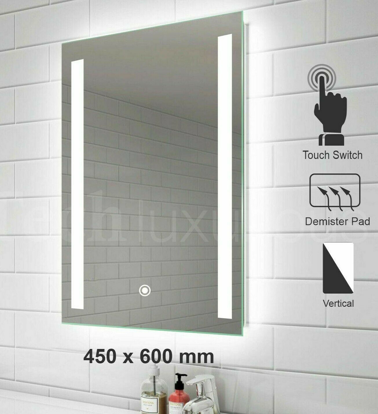 China Led Mirror Illuminated Bathroom Mirrors 450x600 Mm Light Ip44 Demister Pad Touch China Bathroom Led Mirror Led Mirror Light
