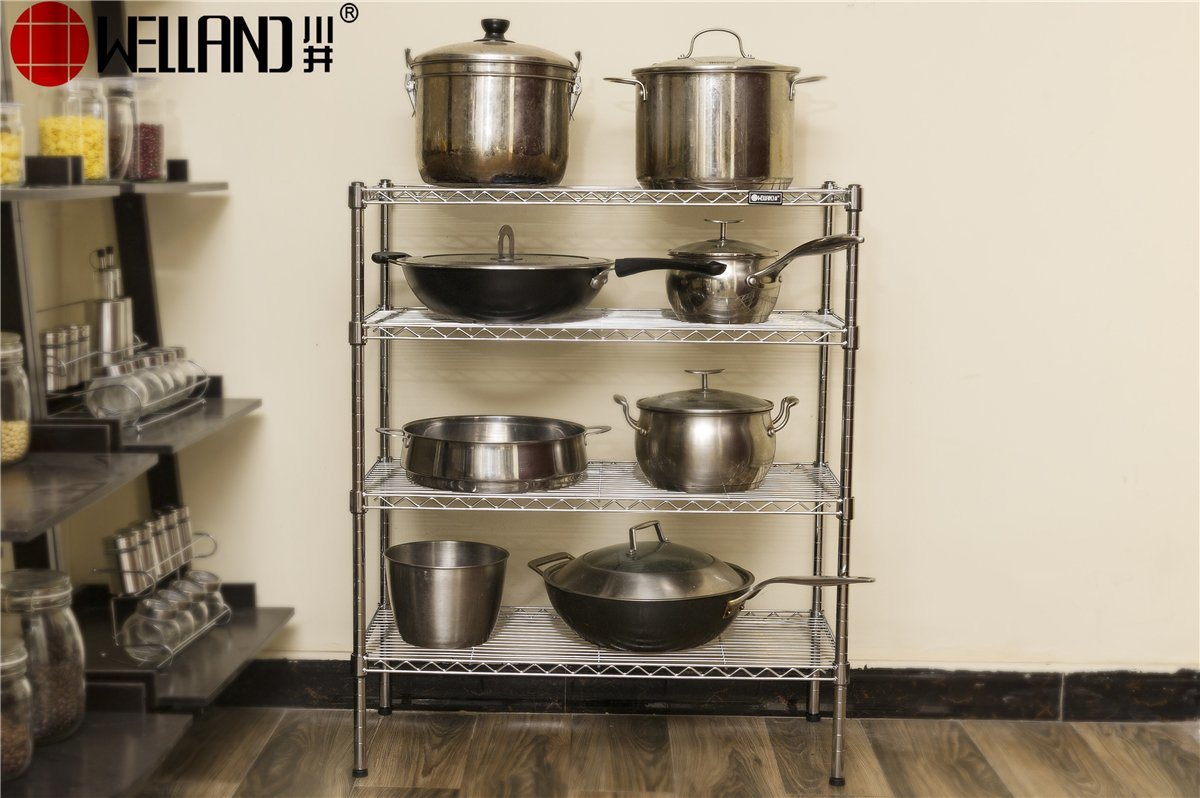 [Hot Item] Perfect 4 Tiers Home Kitchen Utensil Storage Metal Wire Rack  Holder