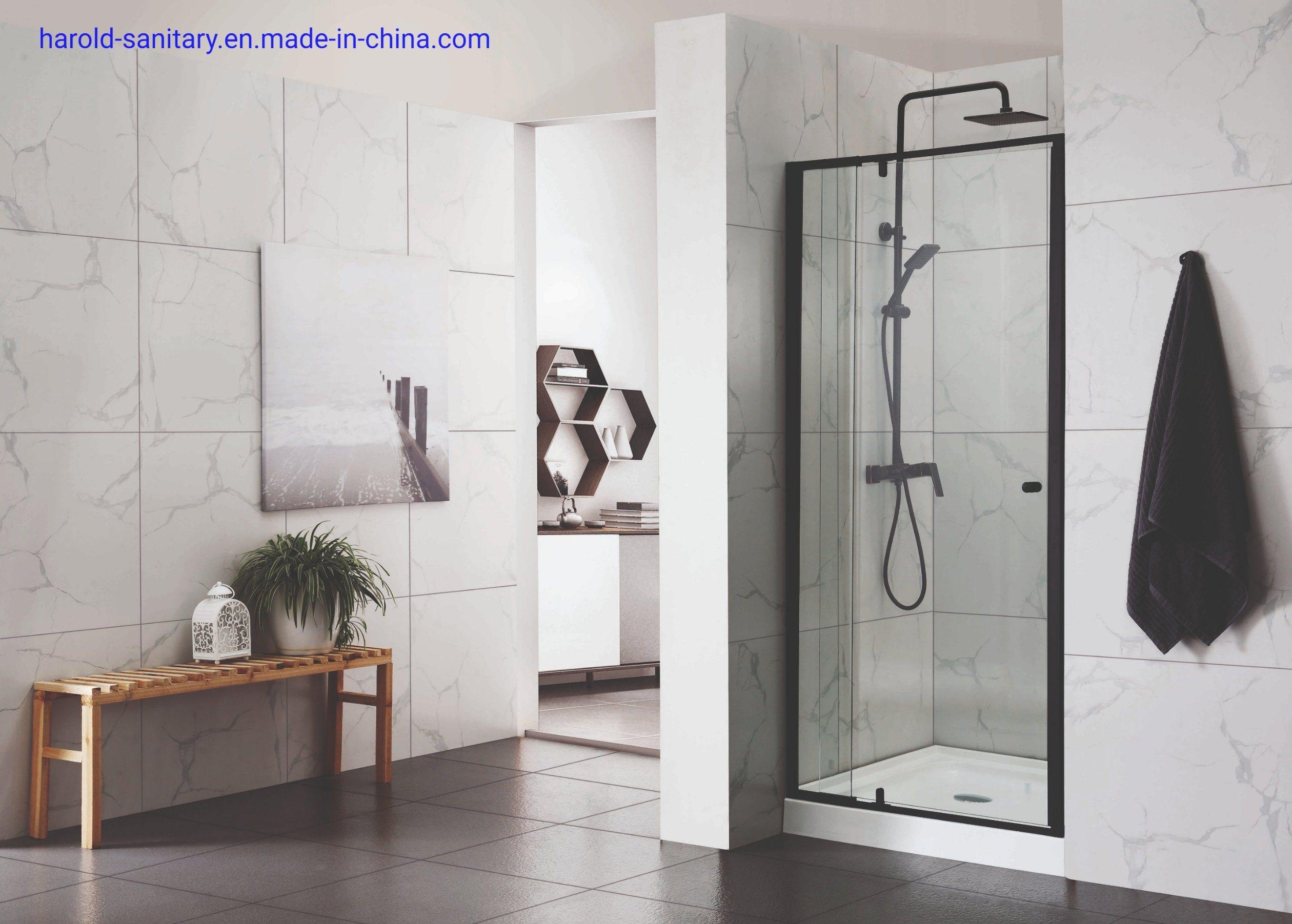 China Straight Matt Black Pivot Shower Enclosure With