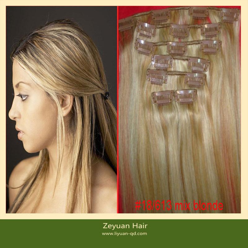 China Virgin Brazilian Remy Human Hair 120 Grams Clip In Hair